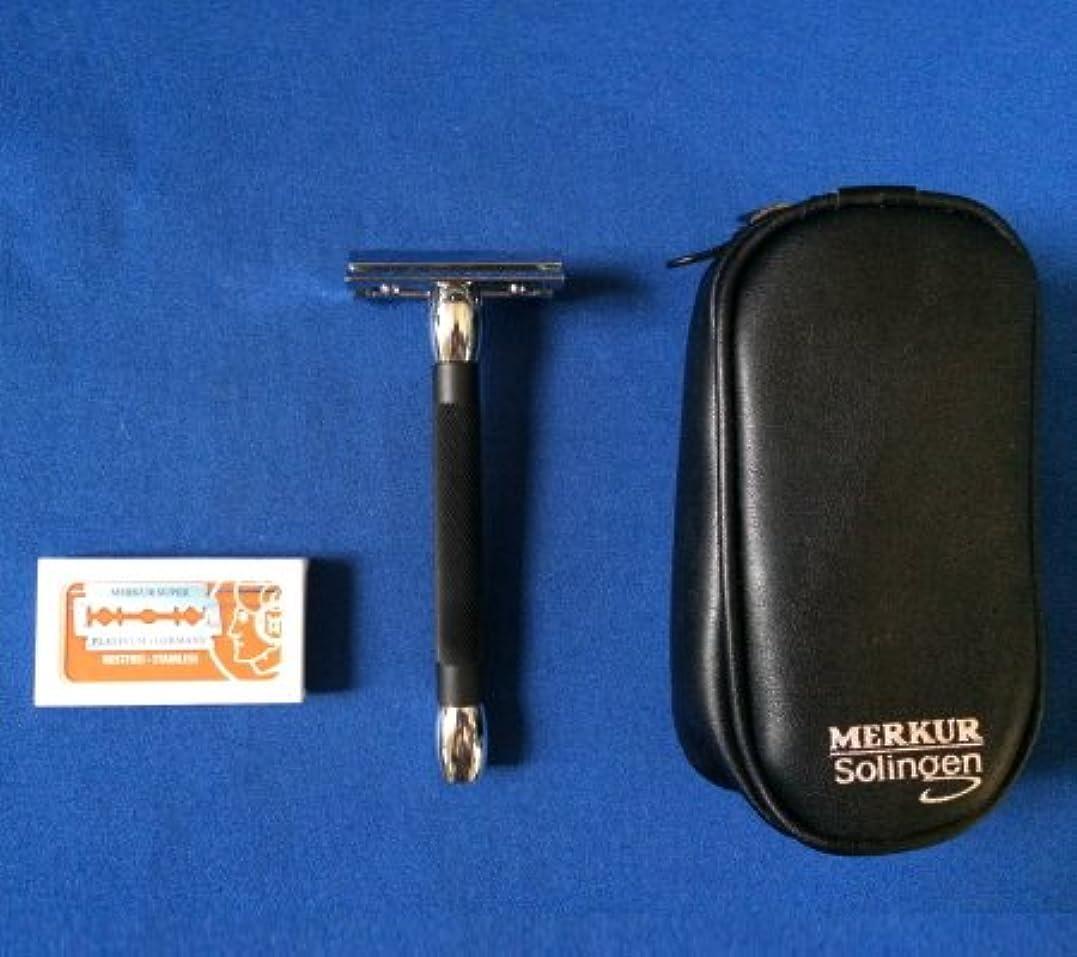 メンダシティのみシーサイドメルクール髭剃り(ひげそり) 20011ブラック(専用革ケース&替刃11枚付)