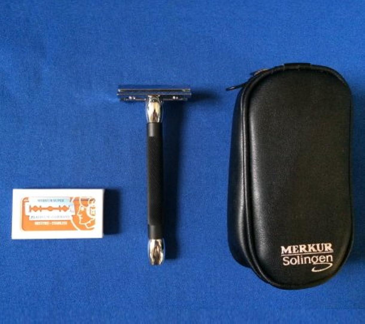 ビザ暗いパプアニューギニアメルクール髭剃り(ひげそり) 20011ブラック(専用革ケース&替刃11枚付)