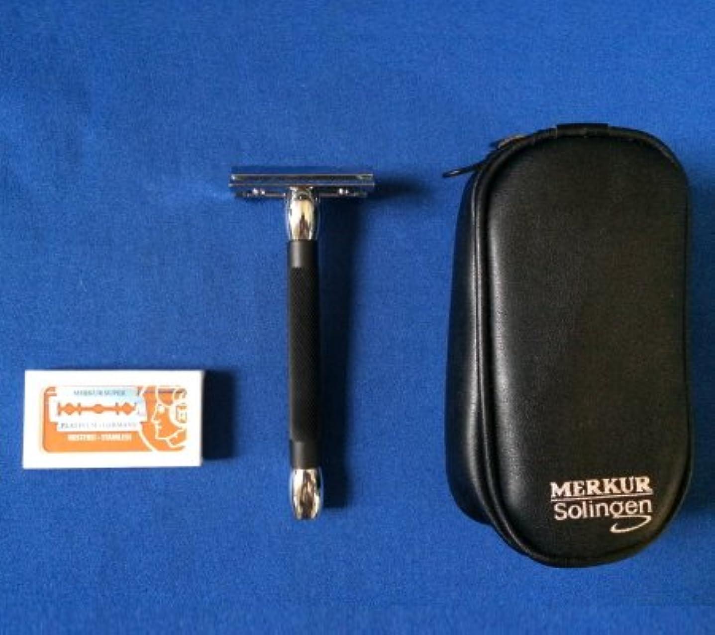 買い手二次大騒ぎメルクール髭剃り(ひげそり) 20011ブラック(専用革ケース&替刃11枚付)