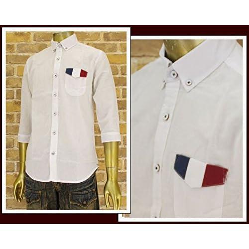 キャンディファンタジー CANDY FANTASY 綿麻オックス ポケットフラップトリコ 7分袖ボタンダウンシャツ メンズ 14759-1 ホワイト L
