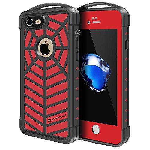 PZX iPhone8 Plus iPhone7 Plus 防水ケース 指紋認証対応 防水 防塵 耐震 防雪 耐衝撃 IP68 アイフォン8/7プラスケース 防水カバー (iPhone7 plus/iPhone8 Plus, レッド)