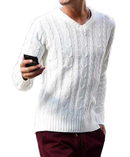 ジョーカーセレクト(JOKER Select) ニット セーター メンズ タートルネック ケーブルニット Vネック クルーネック 無地 長袖 M(Vネック) オフホワイト