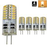 Dayker 3W DC 12V 2700-3000K 電球色 調光不可能 ハイパワー G4 SMD3014 LEDクリスタル スポットライト LED電球 シリコーンライト LEDランプ 360度発光 25Wハロゲン電球と同等 (4個入り)