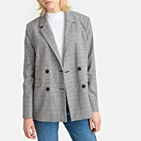 La Redoute Collections Womens Oversized Checked Double-Breasted Boyfriend Blazer