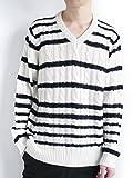 (モノマート) MONO-MART Vネック ケーブル編み プルオーバー ニット セーター 厚手 フィッシャーマン 編み アーバン ベーシック MODE こなれ感 メンズ XLサイズ ネイビー×ホワイト