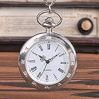 SJXIN 美しい懐中時計 大型シルバー片面ローマ字懐中時計シングルシェルローマン表面懐中時計 (Color : 1)
