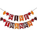 GIVE THANKS フェルト製フラビックバナーバンティング 感謝祭のパーティーや収穫時間、ハロウィンパーティーの装飾に最適