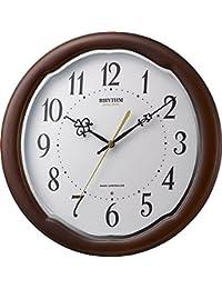 リズム時計 掛け時計 電波 アナログ フィットウェーブアヤW 【 日本製 】 連続秒針 木 茶 RHYTHM 8MY513SR06