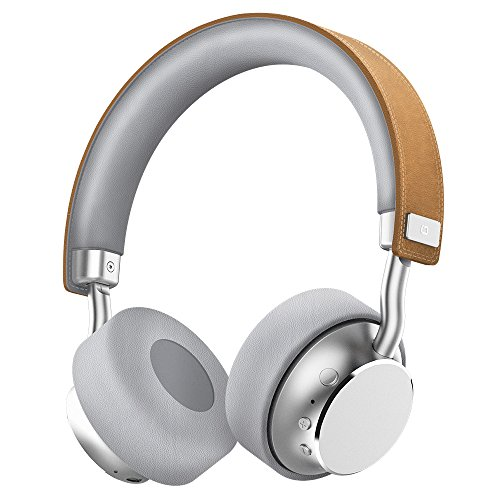 Bluetooth ヘッドフォンOmars ワイヤレス ON-EAR ヘッドホン 本革 ヘッドバンド 有線可能 (シルバー)