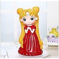 HuaQingPiJu-JP クリスマスギフト保存銀行漫画の女の子のピギー銀行の工芸品の装飾品(赤)