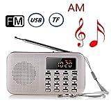 USB充電式 AM/FM 多機能 超薄型ミニポケットラジオ Micro SD/TFカードに対応 LEDライト付き (ホワイト)