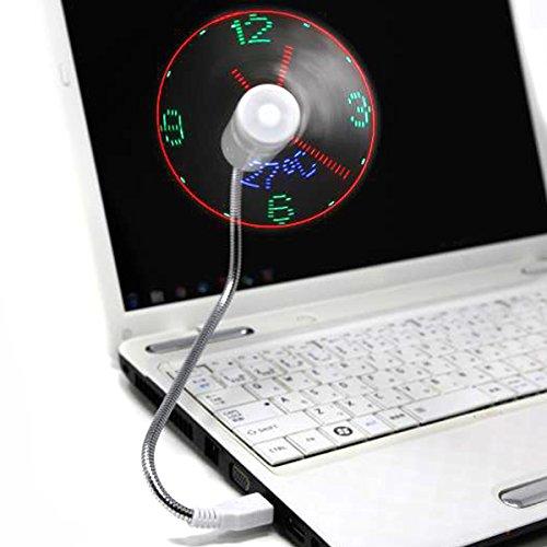 扇風機&LED時計 アナログ時刻 USB 温度計 LEDクロック扇風機