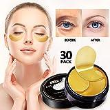 Vanelc 24k Gold Eye Mask-with Collagen Under Eye Patches, Dark Circles Under Eye Treatment, Under Eye Bags Treatment, Eye Mask for Puffy Eyes, Anti-Wrinkle, Undereye Dark Circles, Gel Pads 30 Pairs