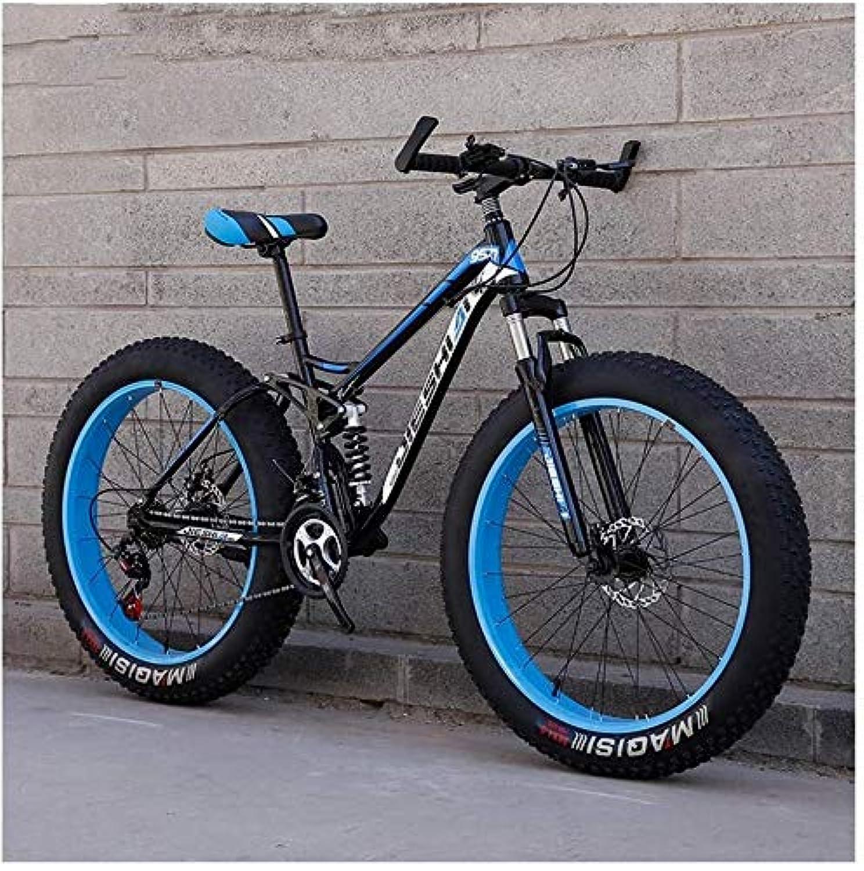 スイミシンラッドヤードキップリング自転車 大人のマウンテンバイク、ファットタイヤデュアルディスクブレーキハードテイルマウンテンバイク、ビッグホイール自転車、高炭素鋼フレーム、新ブルー、26インチ27スピード、サイズ:24インチ24スピード (Color : Blue, Size : 24 Inch 21 Speed)