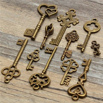 11Pcs Antique Vintage Old Look Skeleton Key Pendant Heart Bow Steampunk Lock - Manual Tools Other Tools - 1 x Set of 11pcs Vintage Keys