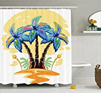 (180cm W By 180cm L, Multi 24) - Palm Tree Decor Shower Curtain by Ambesonne, Cartoon Tropical Island with Hawaiian Palm Trees Torch Seagulls at Sunset, Fabric Bathroom Decor Set with Hooks, 180cm , Blue Orange