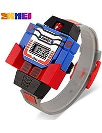 etbotu LEDデジタル子供腕時計漫画スポーツ腕時計ロボットTransformationおもちゃBoys腕時計 グレー