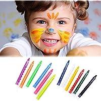 jaysle 12色面ボディペイントクレヨン子供非毒性ボディペイントSticks誕生日ハロウィンクリスマスパーティーメイクアップ