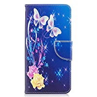 OMATENTI OnePlus 5T ケース カード収納 おしゃれ 高級感 手帳型ケース 衝撃吸収 落下防止 防塵 人気 花柄カバー, マグネット開閉式 プロテクター OnePlus 5T 対応, 青い蝶-1