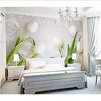Weaeo 大きな壁バブルチューリップの花の壁紙寝室のソファBackground3Dのための壁画壁の壁壁の壁3Dフラワーウォールペーパー-450X300Cm