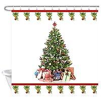 Jocarメリークリスマスシャワーカーテン、クリスマスツリー浴室 防水 防カビ加工 洗面所 間仕切り 目隠し用 取付簡単