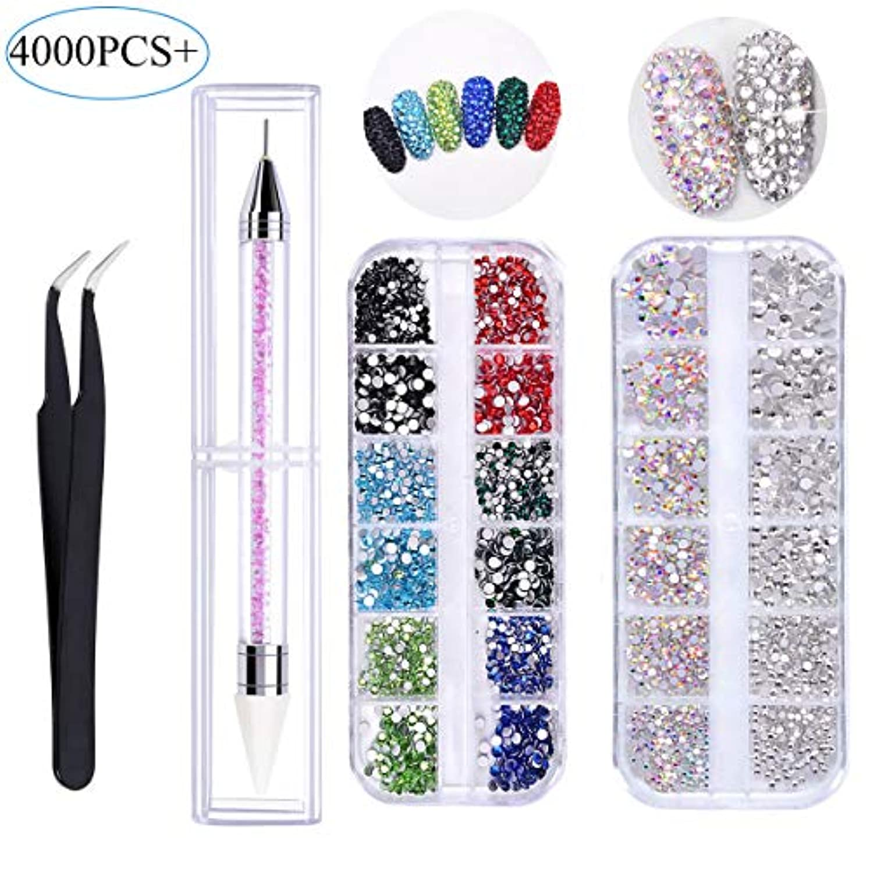 フロント同様に扱う4000 PCSクリスタルABネイルアートラインストーンマルチシェイプ3Dガラスクリスタルラウンドビーズフラットバックガラスチャームジェムストーンズピックアップピンセットとラインストーンピッカードットペン(6サイズ)