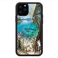 iPhone 11 Pro Max 用 強化ガラスケース クリア 薄型 耐衝撃 黒 カバーケース タホ湖 平和な海岸美 iPhone 11 Pro 2019用 iPhone11ケース用