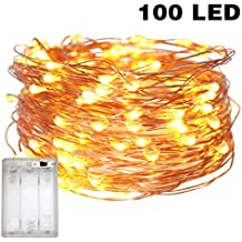 Fairy Lights Battery Operated, 10M/32.8ft/100 LED String Lights, Waterproof 3XAA Battery Case, Indoor Fairy String Lights For Christmas Tree Wedding,Party Events Garden Spring Decoration (Warm White)