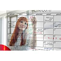 TRANSPARENT Dry Erase Wall Calendar 34x 23- Erasable Large Monthly Planner by Urban Fringe Office (Clear w/Black Grid) [並行輸入品]