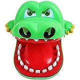 クロコダイルの歯科医のゲーム、Yurdaerのクロコダイルの咬合の手の歯科医のゲームのおもちゃ、子供のための悪魔のおかしいおもちゃ (グリーン)