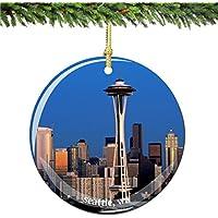 Seattleクリスマスオーナメント、磁器2.75
