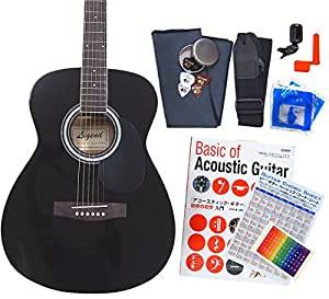 アコースティック・ギター アコギ 初心者 12点セット Legend FG-15 スタートセット アコギ 入門 BK [98765]