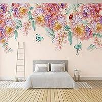 バーKTVカスタム3 dの壁紙ヴィンテージ装飾絵画3 dの壁紙Muarlの手描き花蝶壁の壁紙 300x200cm