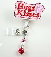 Valentine Hugの& Kisses–ナースバッジリール–Retractable IDバッジホルダー–ナースバッジ–バッジクリップ–バッジReels–Pediatric–RN–名前バッジホルダー
