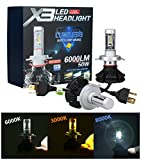 「SUPAREE」 新型 変色可能 車検対応LEDヘッドライト H4 オールインワンタイプ ファンレス フィリップスPHILIPS Lumileds ZES2代目LEDチップ 10連 50W 6500K 6000lm 2個セット 3000K 8000K変色フィルム付き led h4 x3 一年保証付き