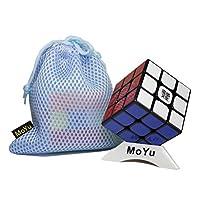 MoYu WeiLong GTS2 GTS 2 Magic Cube マジックキューブ3x3x3スピードキューブパズル + 1個のキューブバッグとキューブスタンド (黒 ブラック)