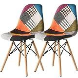 イームズチェア 2脚セット 食卓椅子 カラフルな布 エッフェル塔のデザイン 天然木製の……
