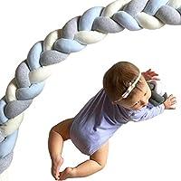 ベビーベッドガード サイドガード 抱き枕 ノットクッション 赤ちゃんベッドバンパー ソファークッション 結び目 ロング 部屋飾り 撮影小物 出産祝い プレゼント (3m, グレー/ブルー)