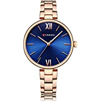 TREEWETO Womens Analog Watches Quartz Wristwatch Business Casual Watch Dress Watch Roman Numeral Fashion Ladies Silver Strap Watches,Blue Dial