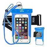 iPhone6/Samsung 防水ケース EOTW® 防水携帯ケース 救助用ネックストラップ付属 IPX8 ブルー+アームバンド