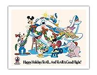 ミッキーマウスとディズニーキャラクター - すべてにハッピーホリデー - デルタ航空(ディズニーワールドの公式航空会社) - ビンテージな航空会社のポスター c.1960s - アートポスター - 51cm x 66cm