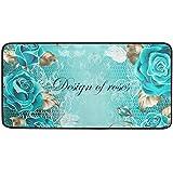 "Kitchen Rugs Turquoise Rose Flowers Design Non-Slip Soft Kitchen Mats Bath Rug Runner Doormats Carpet for Home Decor, 39"" X 2"
