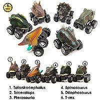 Aptoys プルバック 恐竜 車 6パック 非毒性 プラスチック 恐竜 車 おもちゃ 大きなタイヤホイール付き 3-14歳 子供 男の子 女の子 クリエイティブギフト