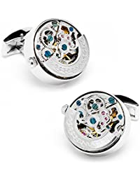 Stainless Steel Kinetic Watch Movement Cufflinks Color: Silver