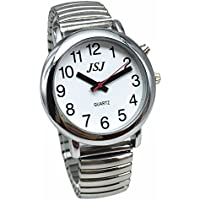 English Talking Watch with Alarm Expanding Bracelet,Talking date and time, Silver Color, White Face