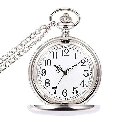 WOLFTEETH 懐中時計 ポケットウォッチ アンティーク クオーツ 文字盤ホワイト シンプル メンズ 時計