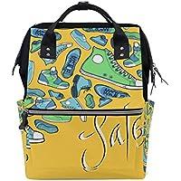 ママバッグ マザーズバッグ リュックサック ハンドバッグ 旅行用 靴柄 黄色背景 ファション