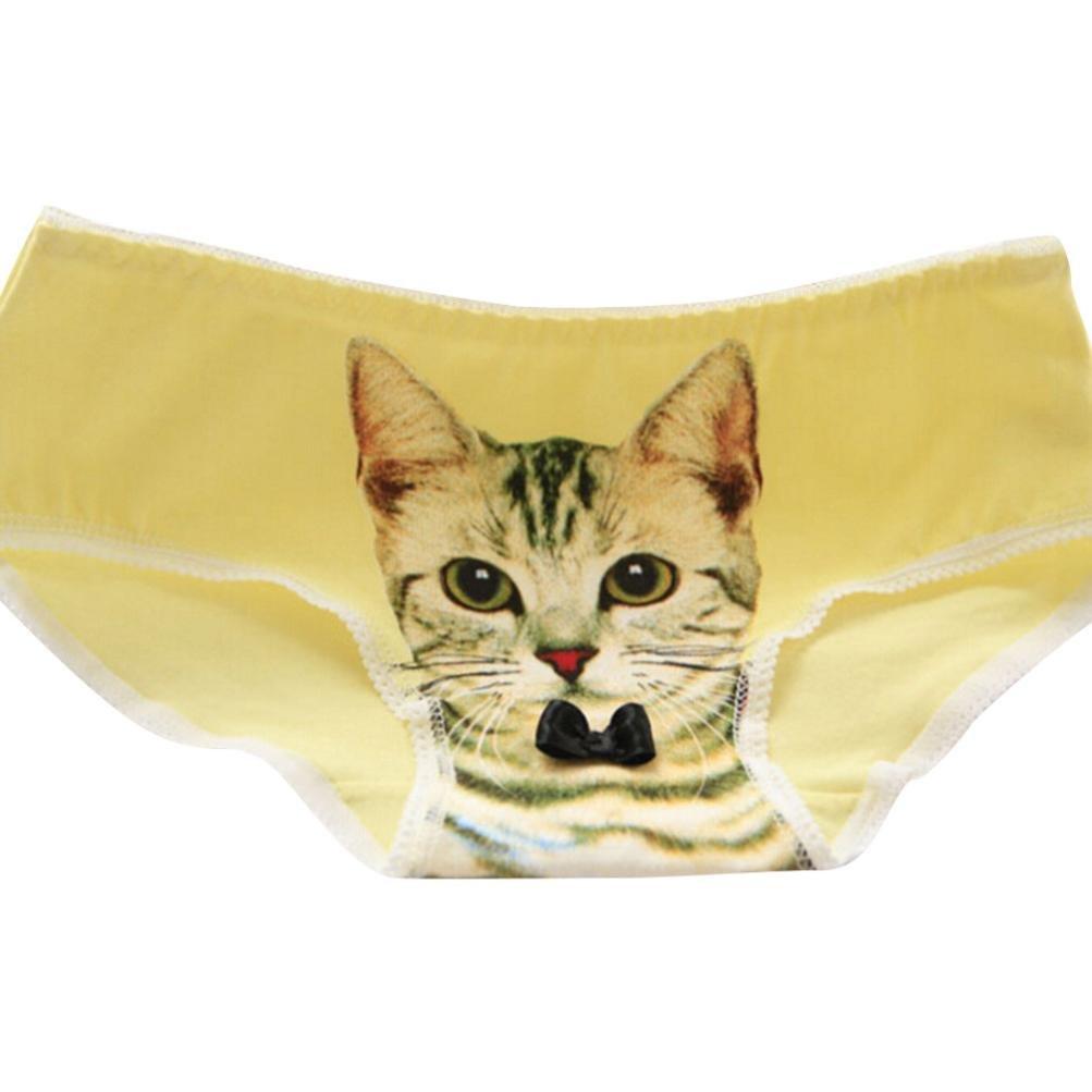 レディース セクシー パンティ 可愛い 3D 猫柄 新型 三角 綿 Tバック 下着 多色 過激 ランジェリー 見せパン ビキニ パンツ 誘惑 エッチ 高品質 Tショーツ エロ 女性 パンティー Gストリング プレゼント フリーズサイズ, 黄色