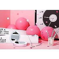 モバイル電源5000ミリアンペア充電式LEDライトミニポータブルポータブル化粧鏡 (ピンク)