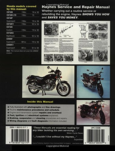 Honda Owners Workshop Manual: CB750 & CB900 dohc Fours 1978 to 1984 (Owners' Workshop Manual)